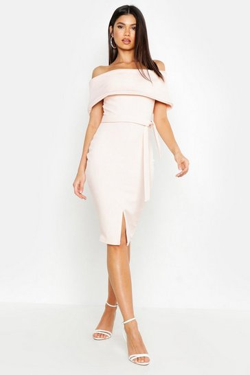 Blush Off The Shoulder Fold Over Split Midi Bodycon Dress