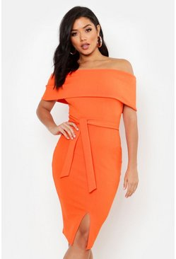 Dam Orange Off The Shoulder Fold Over Split Midi Bodycon Dress