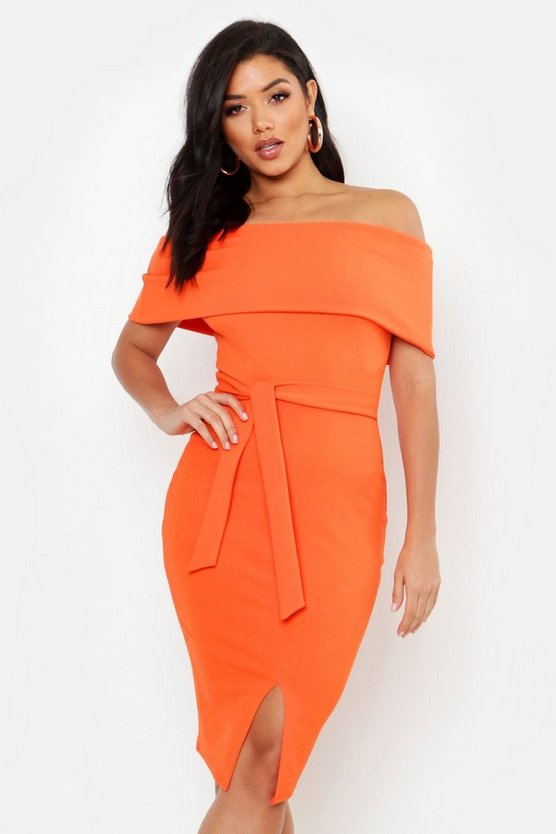 Womens Orange Off The Shoulder Fold Over Split Midi Bodycon Dress