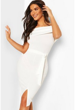 White Off The Shoulder Fold Over Split Midi Bodycon Dress