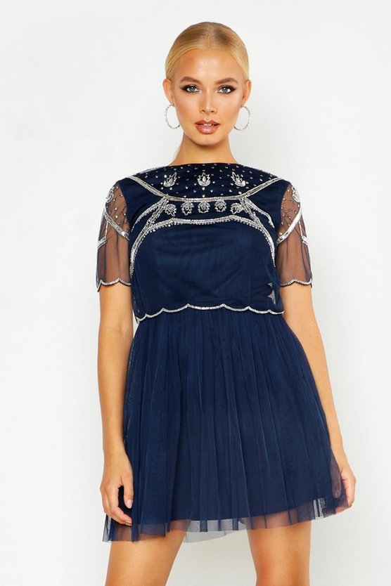 Embellished Top Skater Dress, Navy, Donna