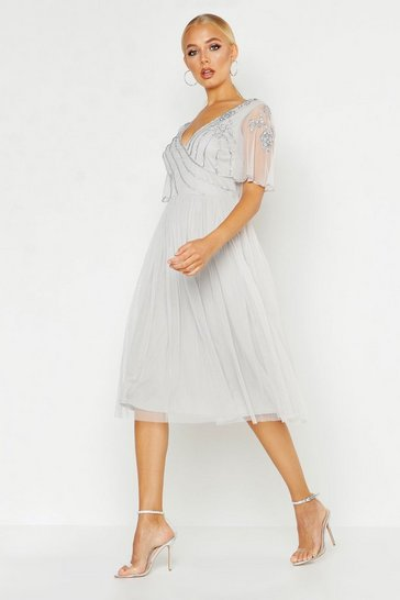 Womens Grey Embellished Top V Neck Midi Skater Dress