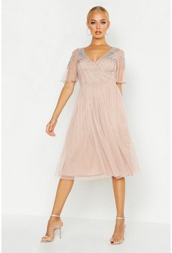 Womens Nude Embellished Top V Neck Midi Skater Dress