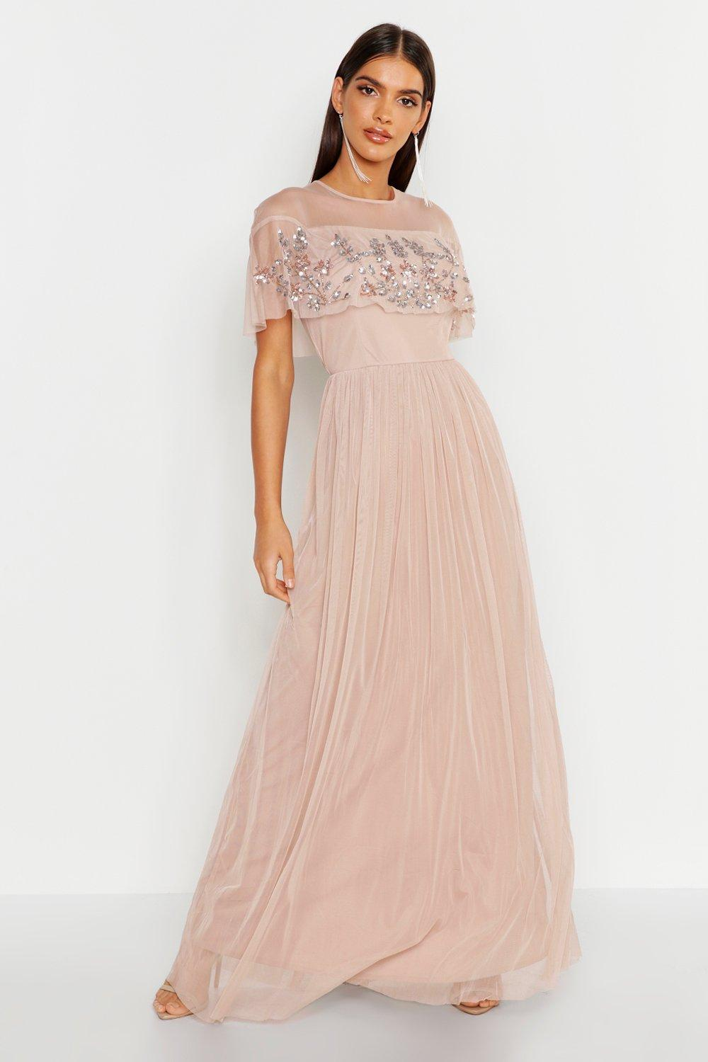 Vintage Evening Dresses and Formal Evening Gowns Embellished Cape Skater Maxi Dress  AT vintagedancer.com