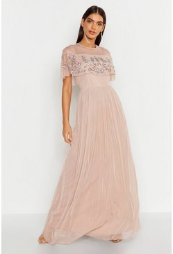 Womens Blush Embellished Cape Skater Maxi Dress