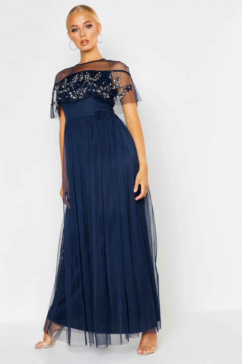 1940s Formal Dresses, Evening Gowns History Embellished Cape Skater Maxi Dress $90.00 AT vintagedancer.com