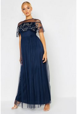 Womens Navy Embellished Cape Skater Maxi Dress
