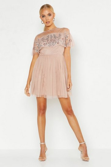 Womens Blush Embellished Cape Skater Dress