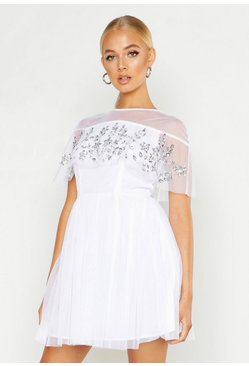White Embellished Cape Skater Dress