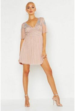 Robe patineuse à col en V et top à ornements, Blush, Femme
