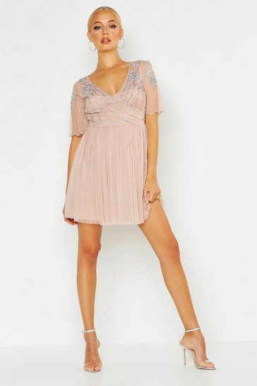 Womens Blush Embellished Top V Neck Skater Dress