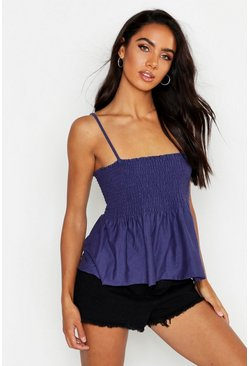 Womens Navy Shirred Square Neck Cami