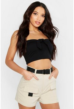Womens Black Twist Front Strapless Crop