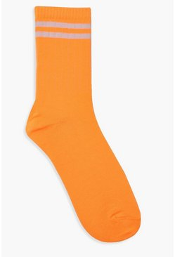 Neon Stripe Sports Socks, Orange, Donna