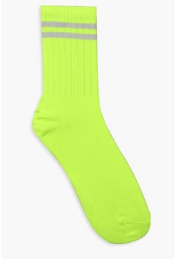 Neon Lime Sports Stripe Socks, Donna