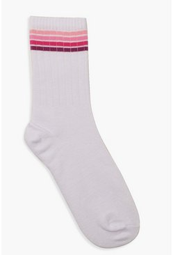 Womens Pink Ombre Sports Stripe Socks