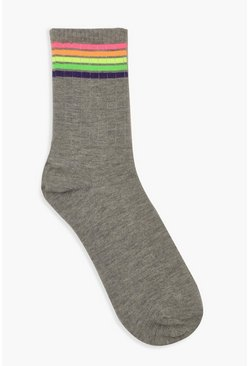 Womens Grey marl Neon Sports Stripe Socks