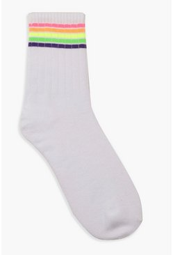Neon Sports Stripe Socks, White, Donna