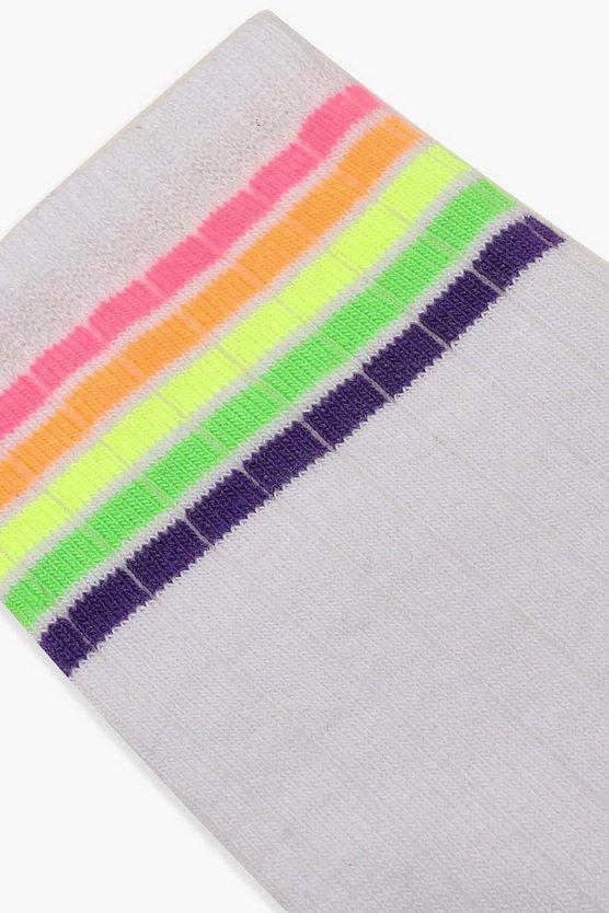 Neon Sports Stripe Socks