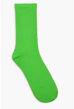 Neon Sports Socks, Lime, Donna