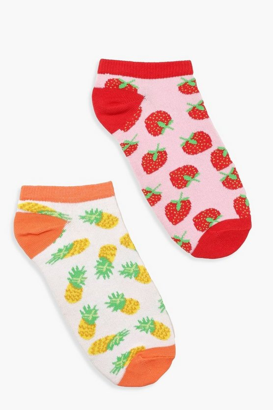 2 Pack Fruit Ankle Socks by Boohoo