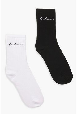 "Pack de 2 pares de calcetines con eslogan ""Woman"", Multi"