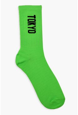 Neon Tokyo Sports Socks, Neon-lime, Donna