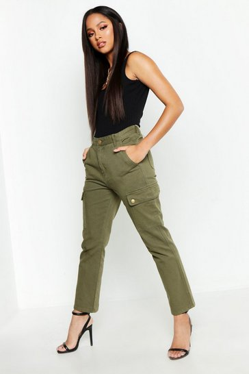 Womens Khaki Utility Cargo Pocket Rigid Straight Leg Jeans