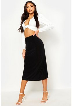 Womens Black Slinky Bias Cut Midi Skirt