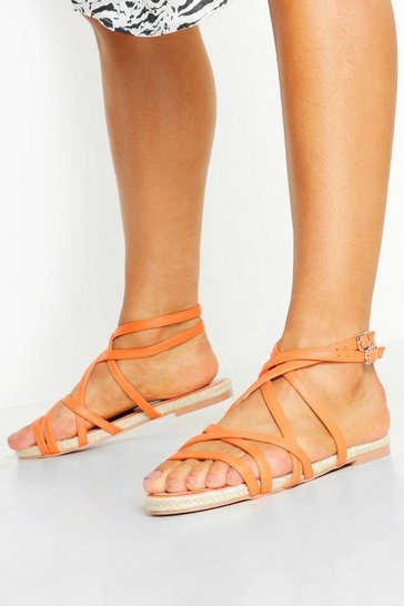 Womens Orange Multi Strap Espadrille Sandals