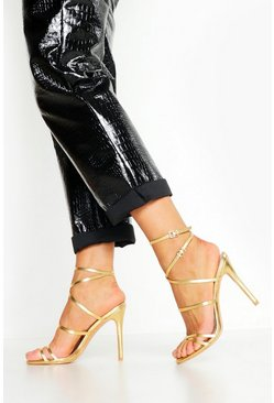 Skinny Strap Wrap Up Stiletto Heels, Gold