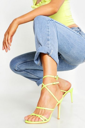 Womens Lime Skinny Strap Wrap Up Stiletto Heels