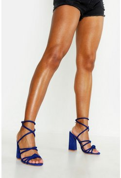 Womens Blue Knot Detail Wrap Ankle Block Heels