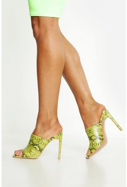 Womens Neon-lime Square Toe Snake Heeled Mules