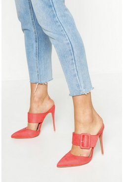 Coral Pointed Buckle Detail Court Mules
