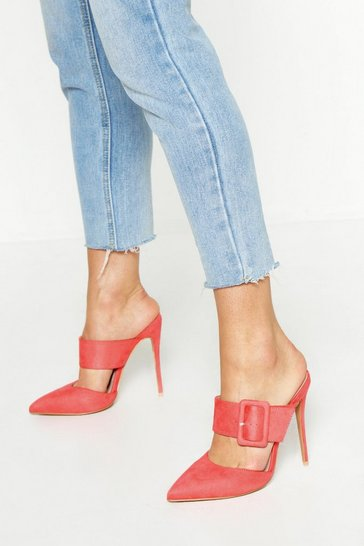 Womens Coral Pointed Buckle Detail Court Mules