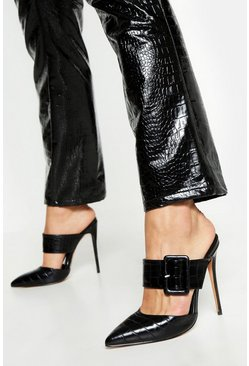 Womens Black Pointed Buckle Detail Court Mules