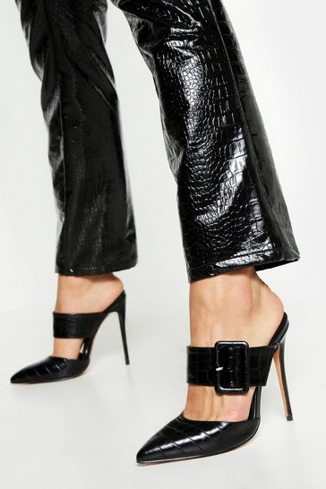Black Pointed Buckle Detail Court Mules