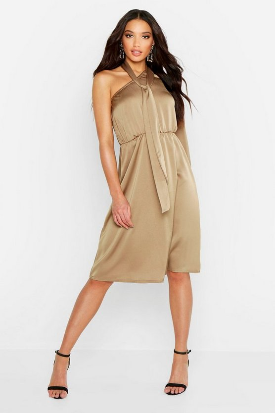 Womens Khaki One Shoulder Satin Tie Neck Midi Dress
