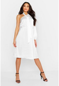 Womens White One Shoulder Satin Tie Neck Midi Dress