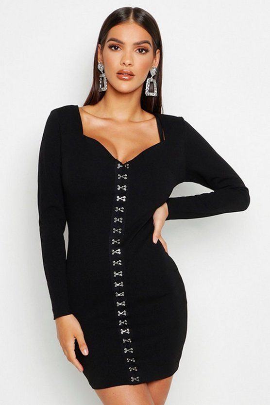Black Sweetheart Neck Hook & Eye Micro Mini Dress