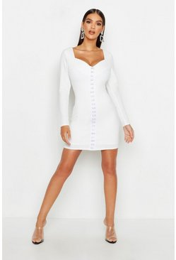 Sweetheart Neck Hook & Eye Micro Mini Dress, White, Donna