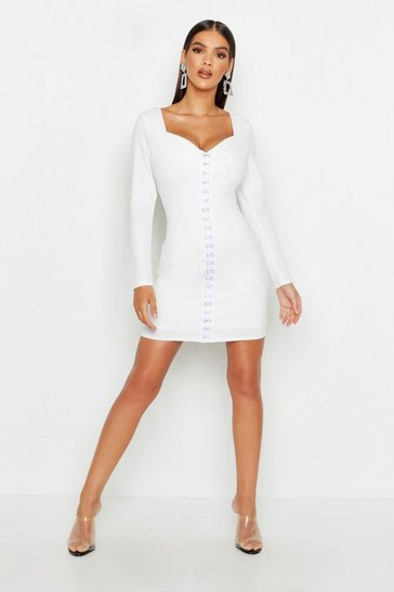 Womens White Sweetheart Neck Hook & Eye Micro Mini Dress