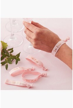 Ginger Ray Team Bride Wristbands 5 Pack, Pink