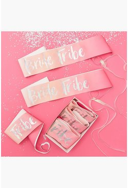 Lot de 6 écharpes Bride Tribe, Rose