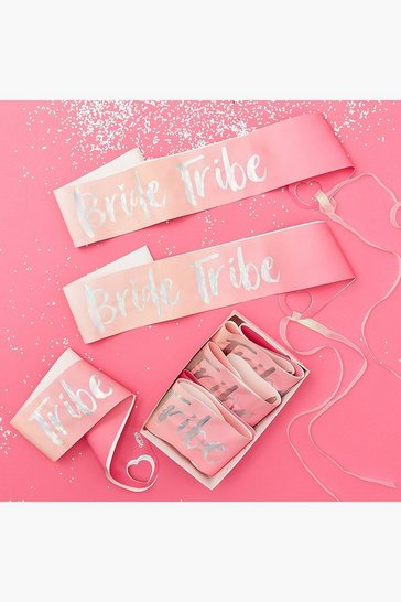 Womens Pink Bride Tribe Sashes 6 Pack