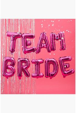 """Team Bride"" Girlande mit Ballons, Rosa"