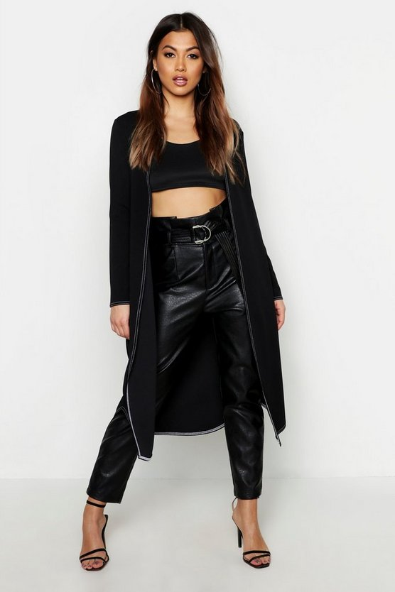 Black Contrast Stitch Belted Jacket