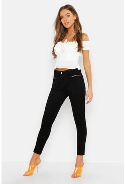 Mid Rise Pocket Detail Skinny Jeans, Black, Donna