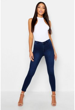 Womens Indigo Skinny Stretch Jeans